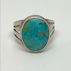 Vintage Men's Sterling Silver & Turquoise Ring